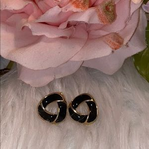 Vintage Black & Gold Pierced Earrings Well Made